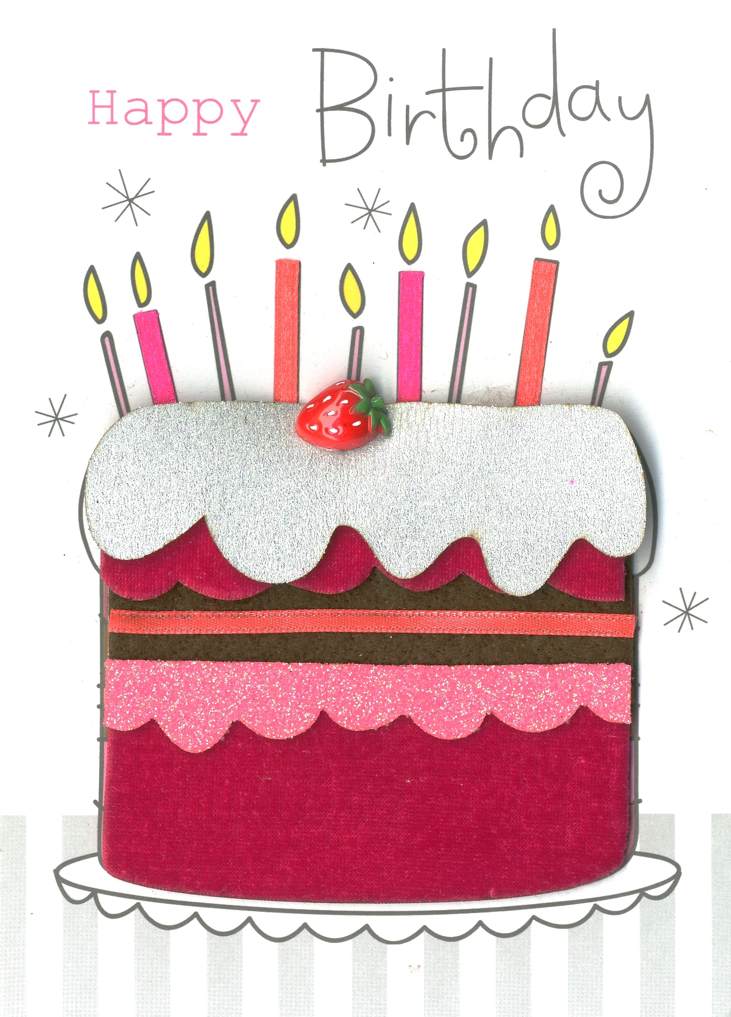 Happy Birthday Cake Embellished Greeting Card Cards Love Kates