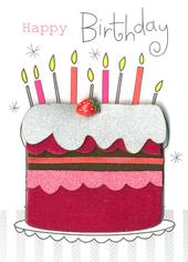 Happy Birthday Cake Embellished Greeting Card