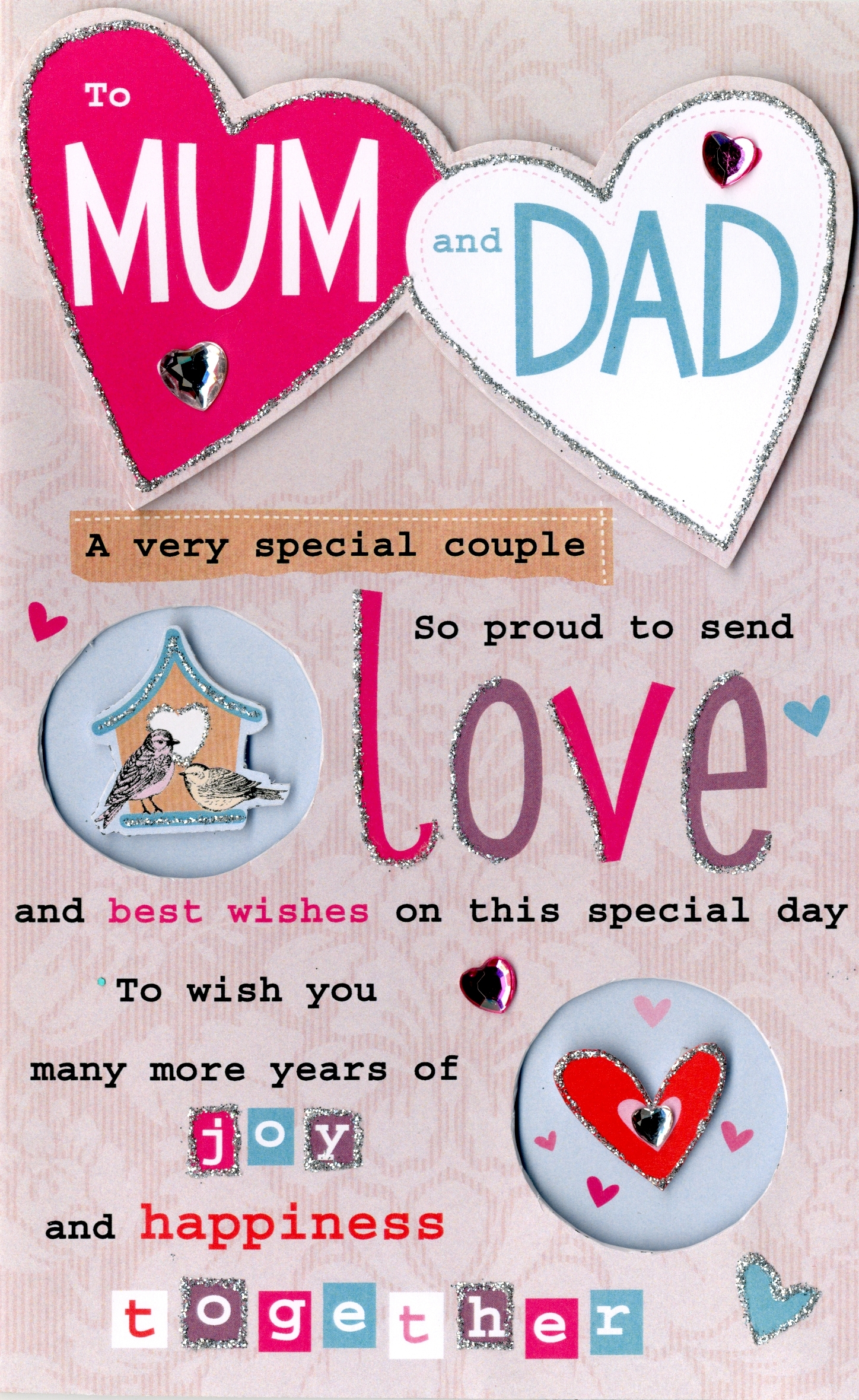 Mum Dad Anniversary Greeting Card Cards Love Kates