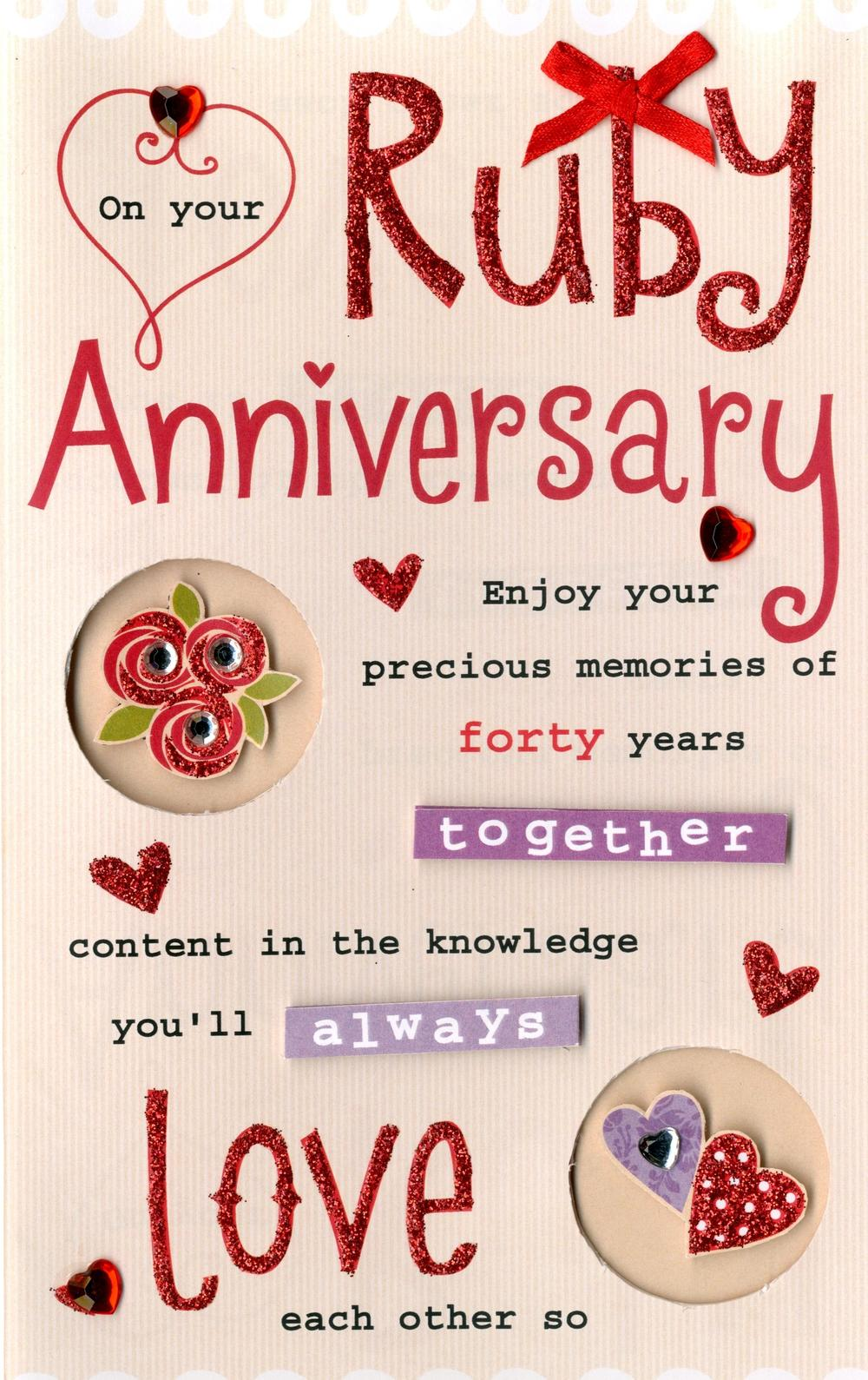 Ruby Anniversary Greeting Card