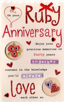 Ruby Anniversary Greeting Card