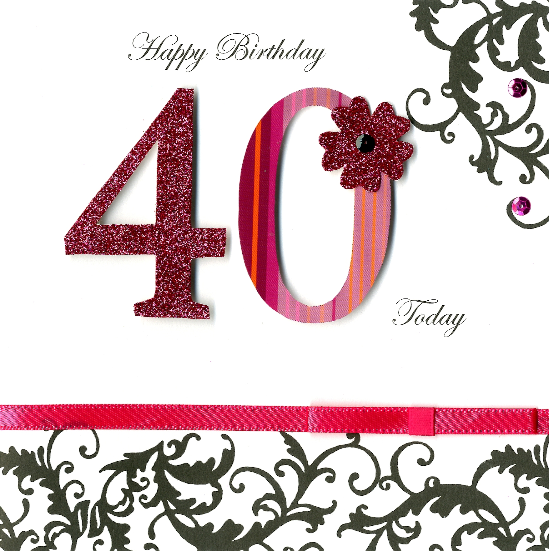 40 today 40th birthday embellished greeting card cards love kates 40 today 40th birthday embellished greeting card kristyandbryce Image collections