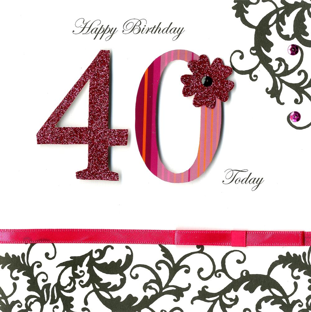 40 Today 40th Birthday Embellished Greeting Card