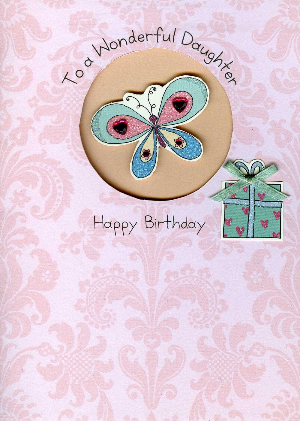 Daughter Embellished Birthday Greeting Card
