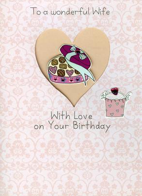 Wife Embellished Birthday Greeting Card