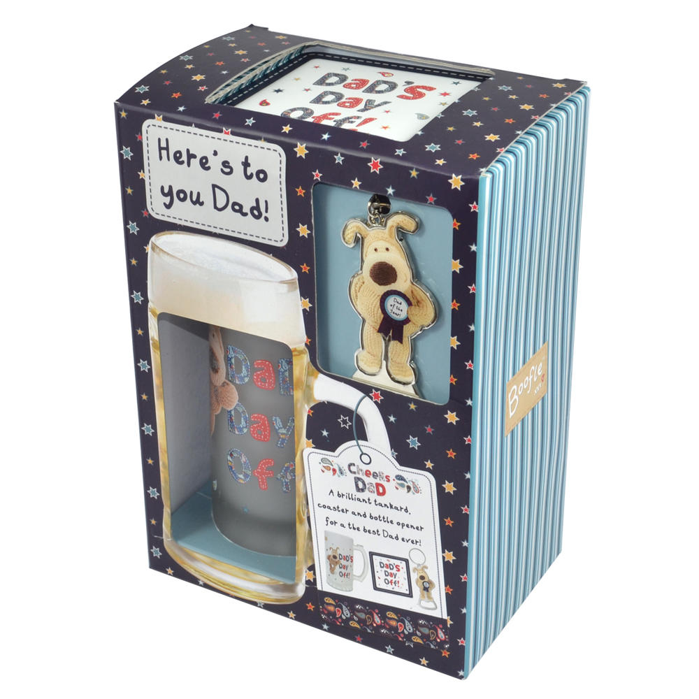 Boofle Best Dad Tankard Coaster & Keyring in a Gift Box