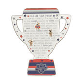 Boofle Dad Of The Year Wooden Trophy Shaped Plaque