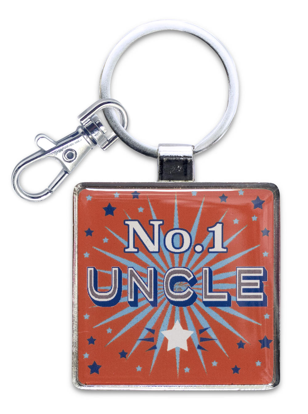 No. 1 Uncle Little Wishes Metallic Keyring