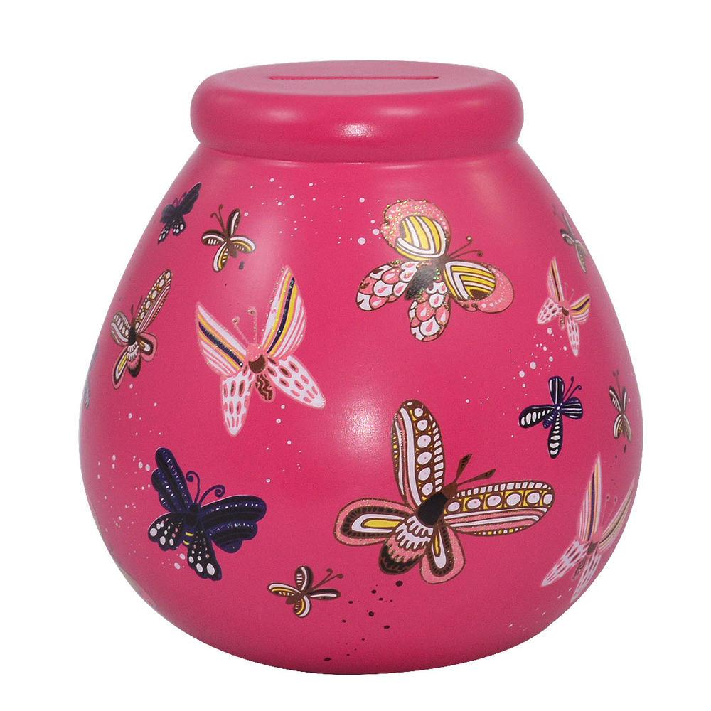 Pink Butterfly Pots of Dreams Money Pot