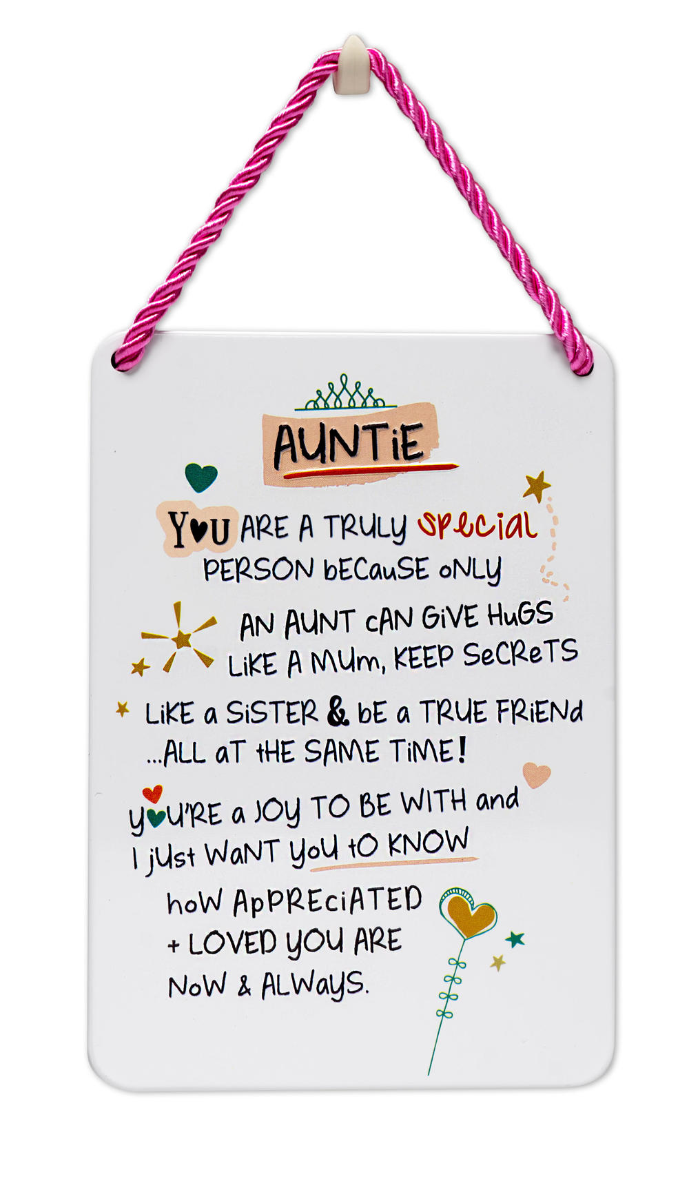 Special Auntie Inspired Words Tin Hanging Plaque