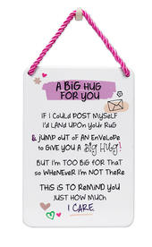 A Big Hug For You Inspired Words Tin Hanging Plaque