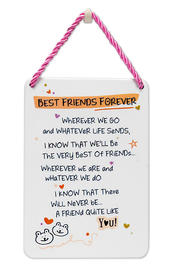 Best Friends Forever Inspired Words Tin Hanging Plaque