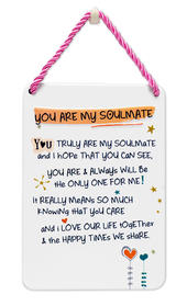 You Are My Soulmate Inspired Words Tin Hanging Plaque