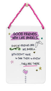 Good Friends Inspired Words Tin Hanging Plaque