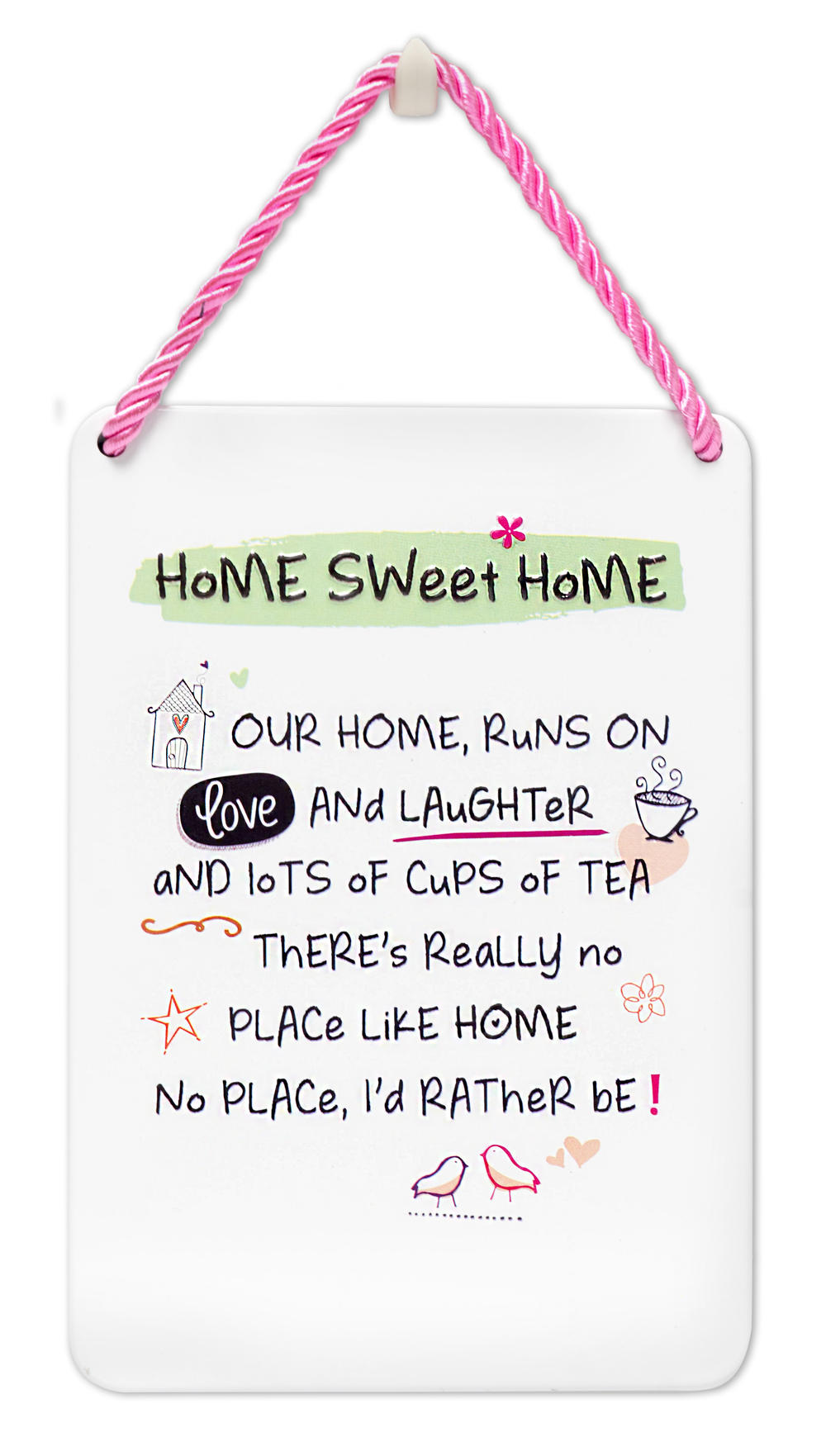 Home Sweet Home Inspired Words Tin Hanging Plaque