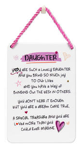 Lovely Daughter Inspired Words Tin Hanging Plaque