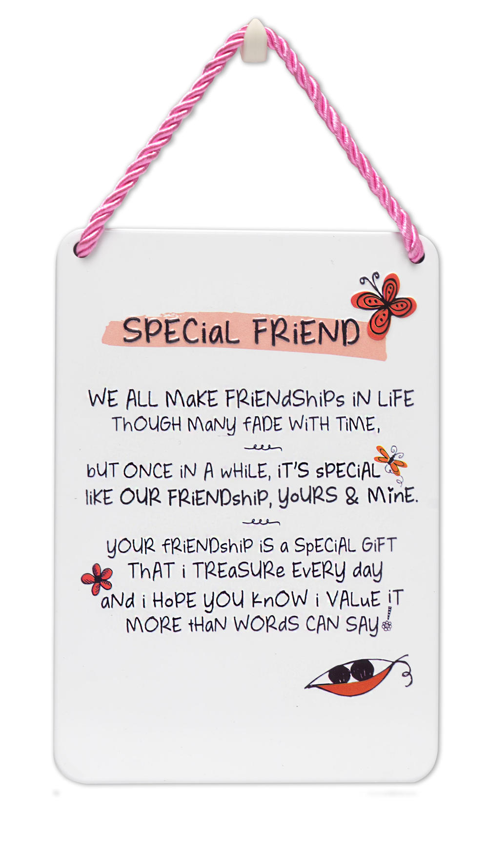 Special Friend Inspired Words Tin Hanging Plaque