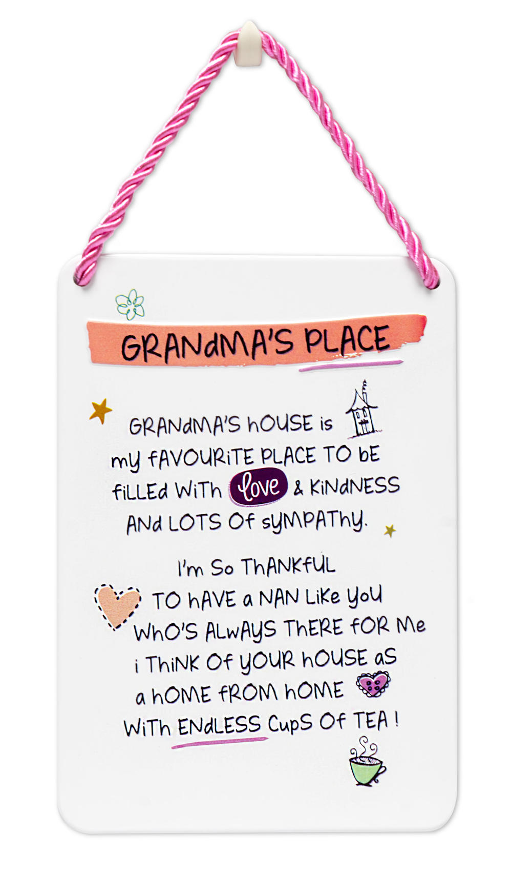 Grandma's Place Inspired Words Tin Hanging Plaque