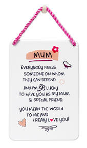 Mum I Love You Inspired Words Tin Hanging Plaque