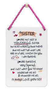 Wonderful Sister Inspired Words Tin Hanging Plaque