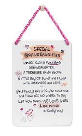 Special Granddaughter Inspired Words Tin Hanging Plaque