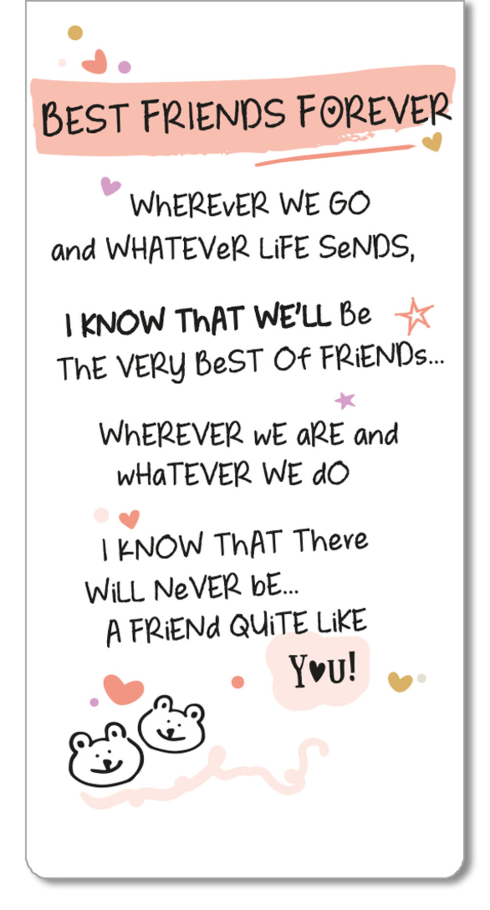 Best Friends Forever Inspired Words Magnetic Bookmark