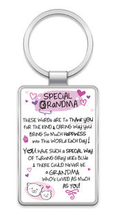 Special Grandma Inspired Words Metal Keyring