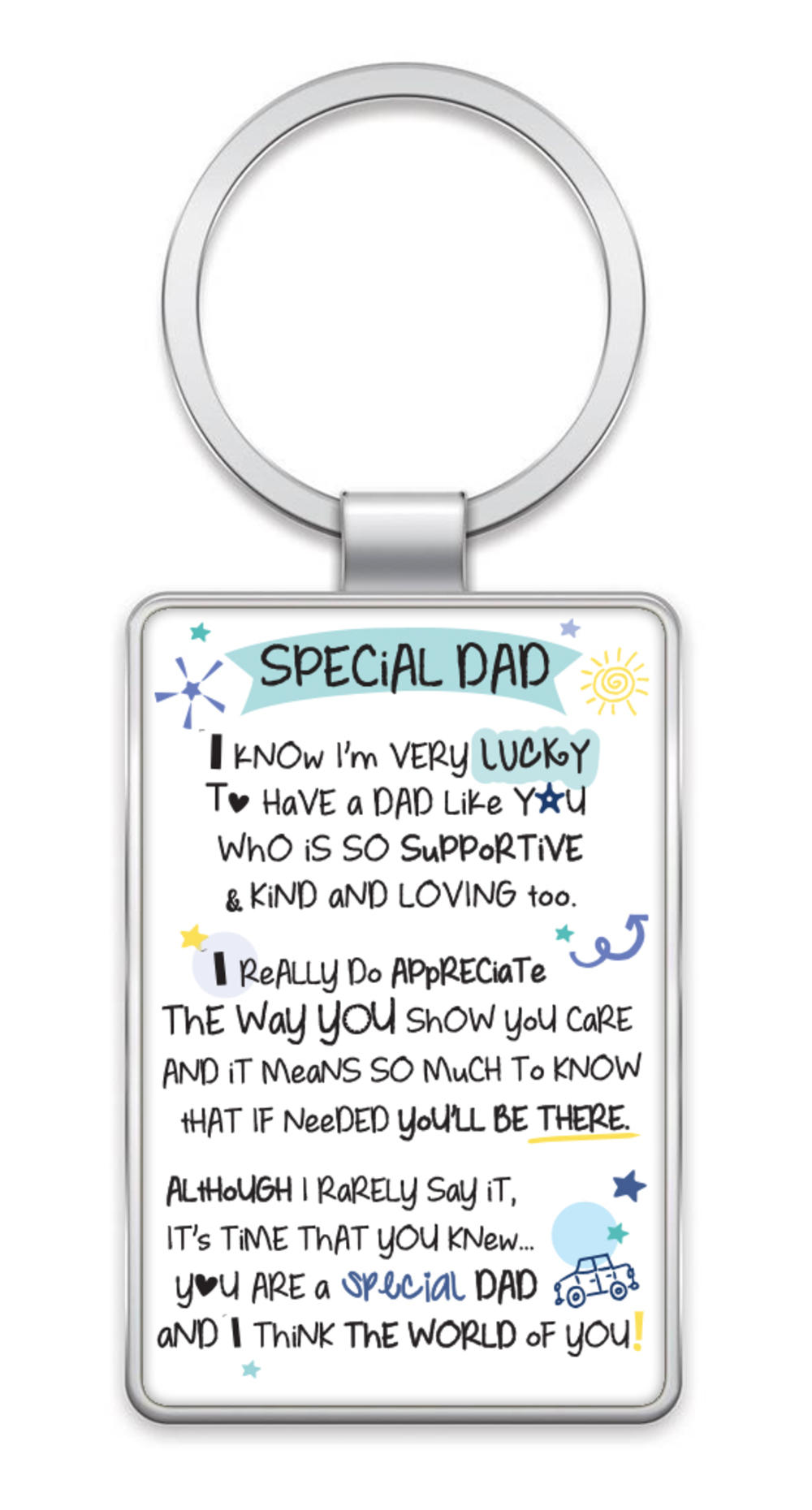 Special Dad Inspired Words Metal Keyring