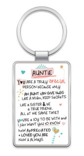 Special Auntie Inspired Words Metal Keyring