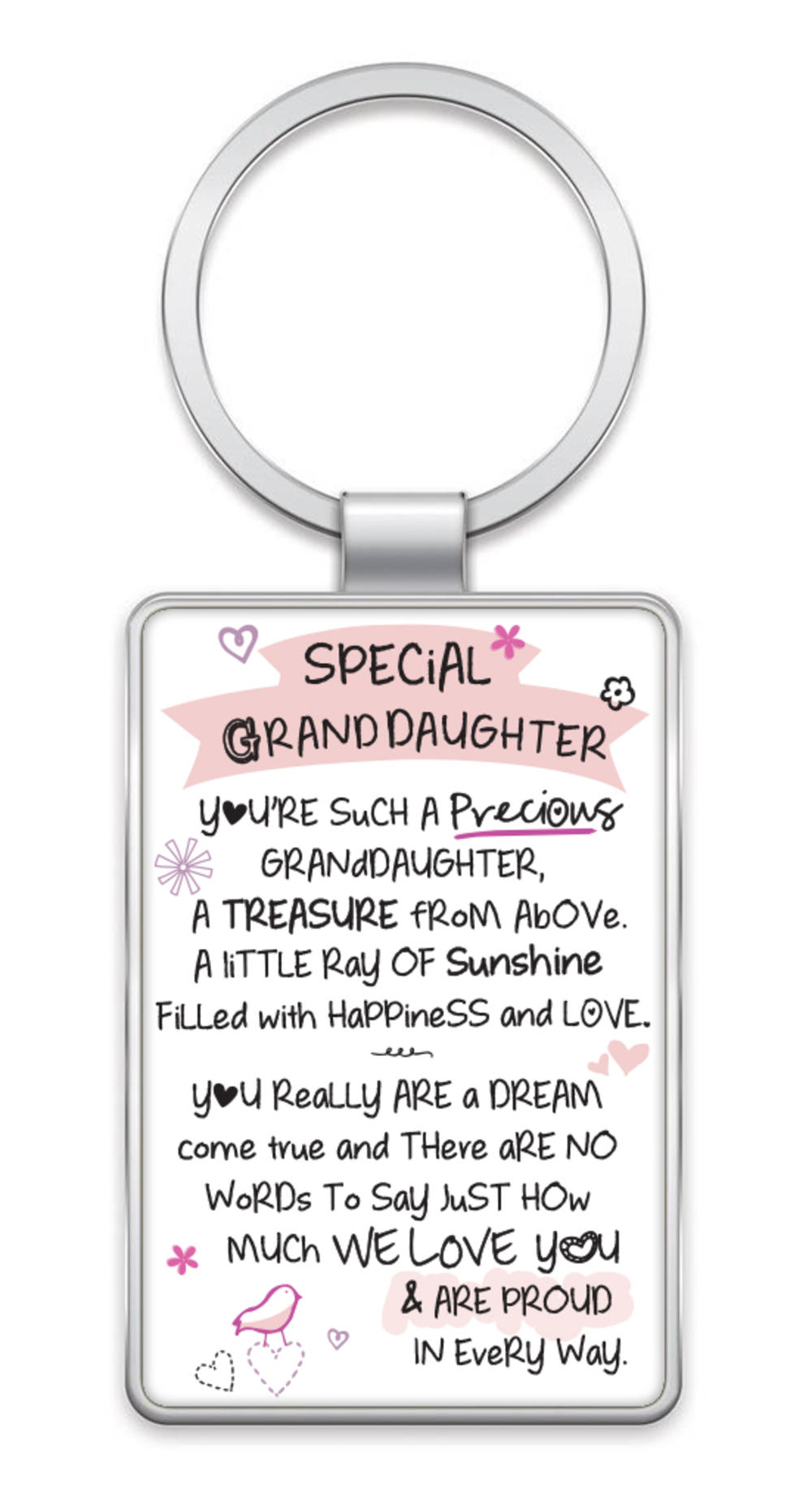 Special Granddaughter Inspired Words Metal Keyring