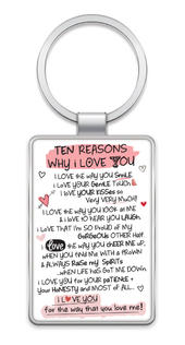 Ten Reasons Why I Love You Inspired Words Metal Keyring