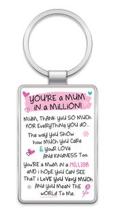 Mum In A Million Inspired Words Metal Keyring