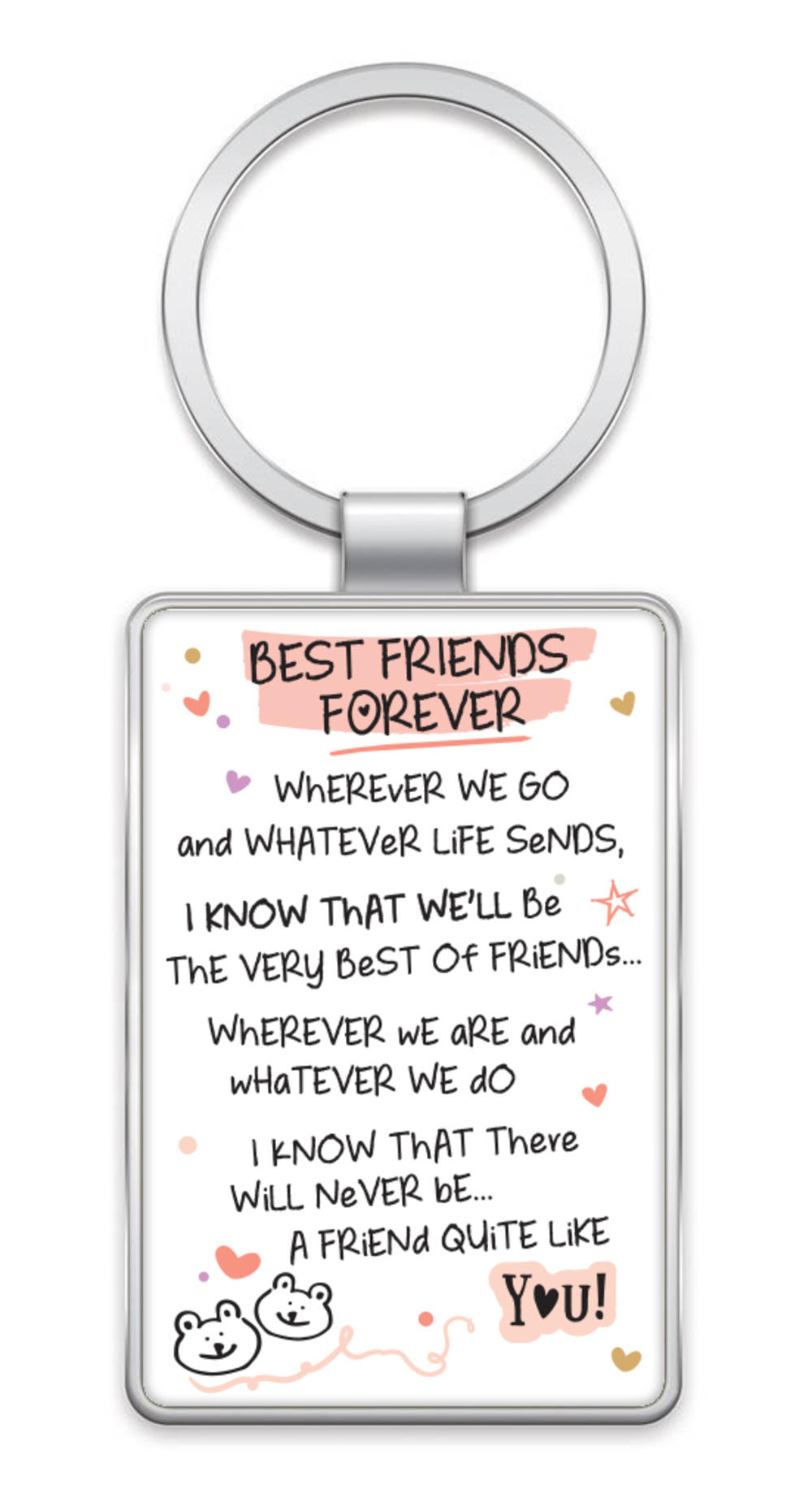 Best Friends Forever Inspired Words Metal Keyring