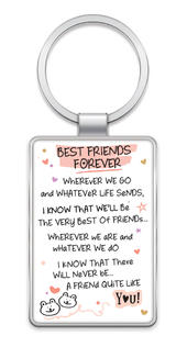 Best Friends Forever Inspired Words Metal Keyring