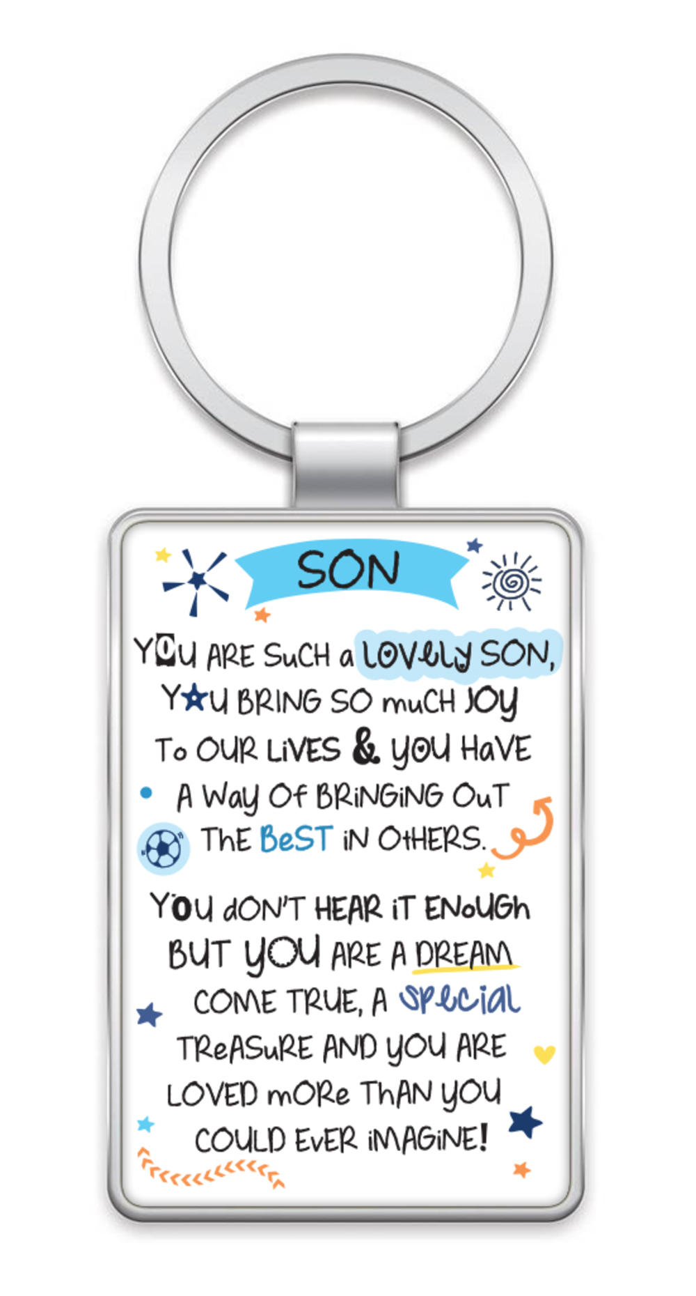Lovely Son Inspired Words Metal Keyring