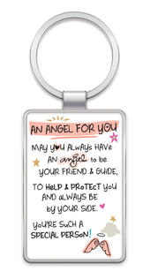 An Angel For You Inspired Words Metal Keyring