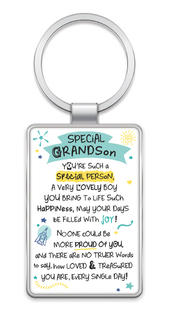 Special Grandson Inspired Words Metal Keyring