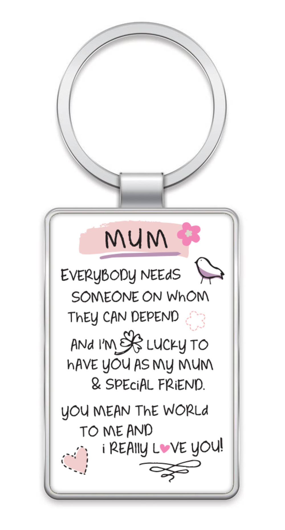 Mum I Love You Inspired Words Metal Keyring