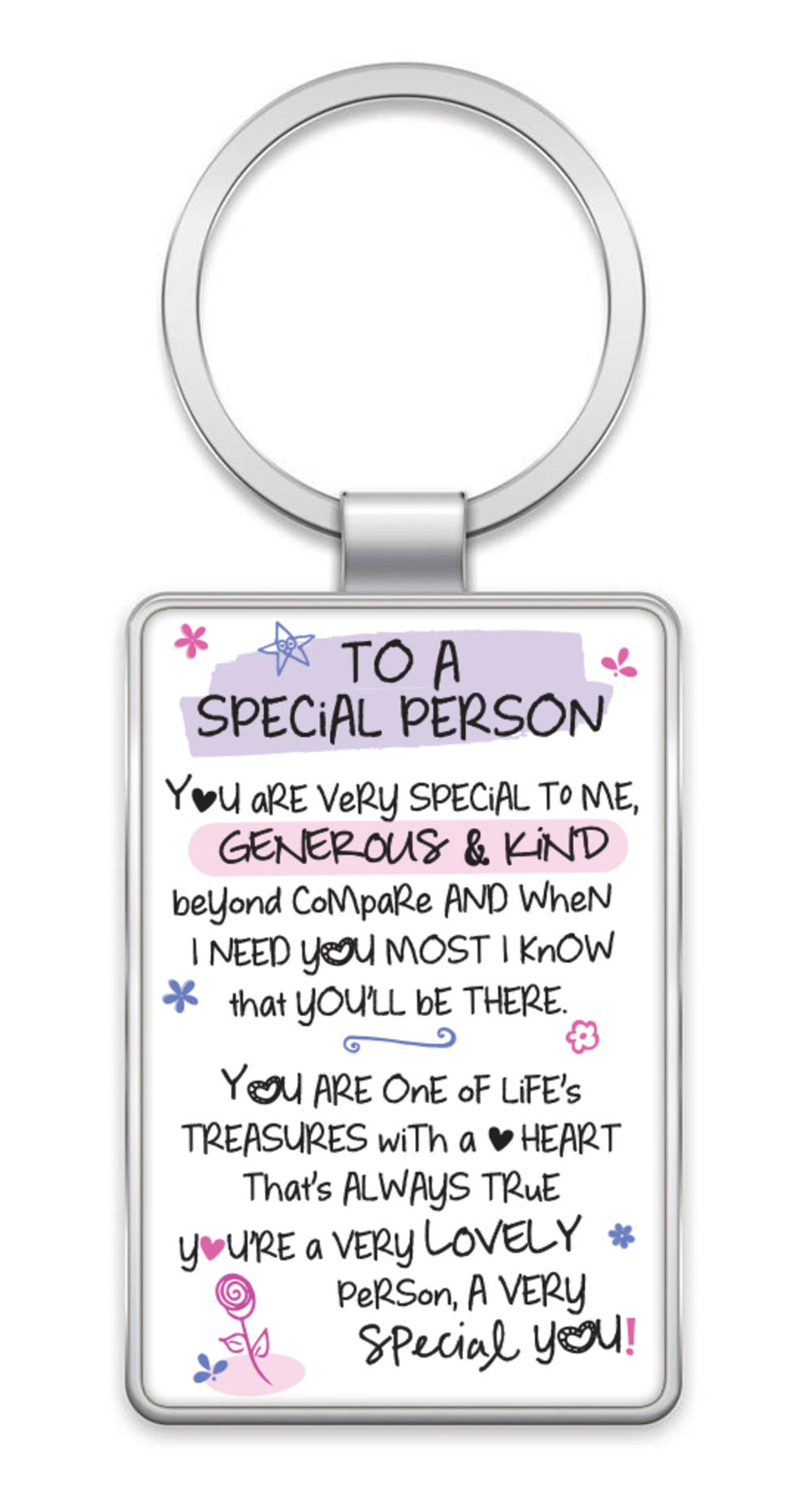 Special Person Inspired Words Metal Keyring
