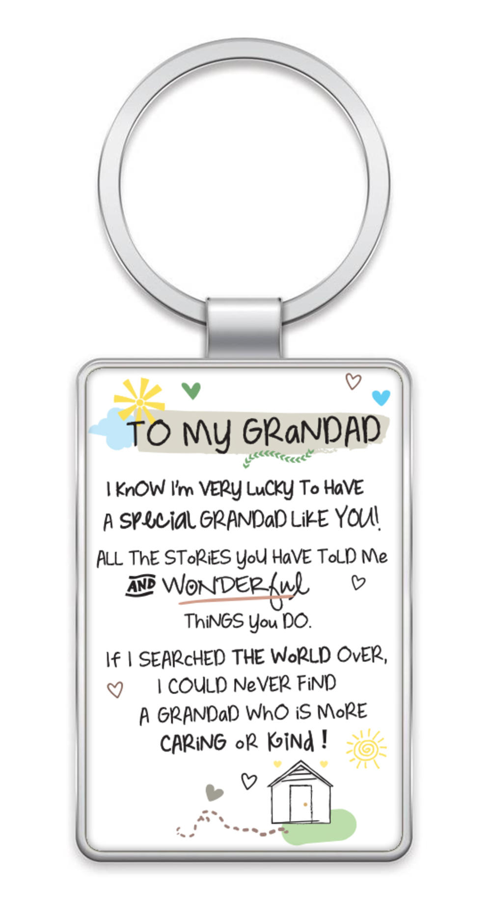 To My Grandad Inspired Words Metal Keyring