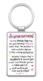 On Your Birthday Inspired Words Metal Keyring