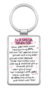 Special Daughter Inspired Words Metal Keyring