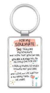 For My Soulmate Inspired Words Metal Keyring