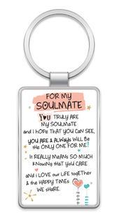 For My Soulmate Inspired Words Metal Keyring