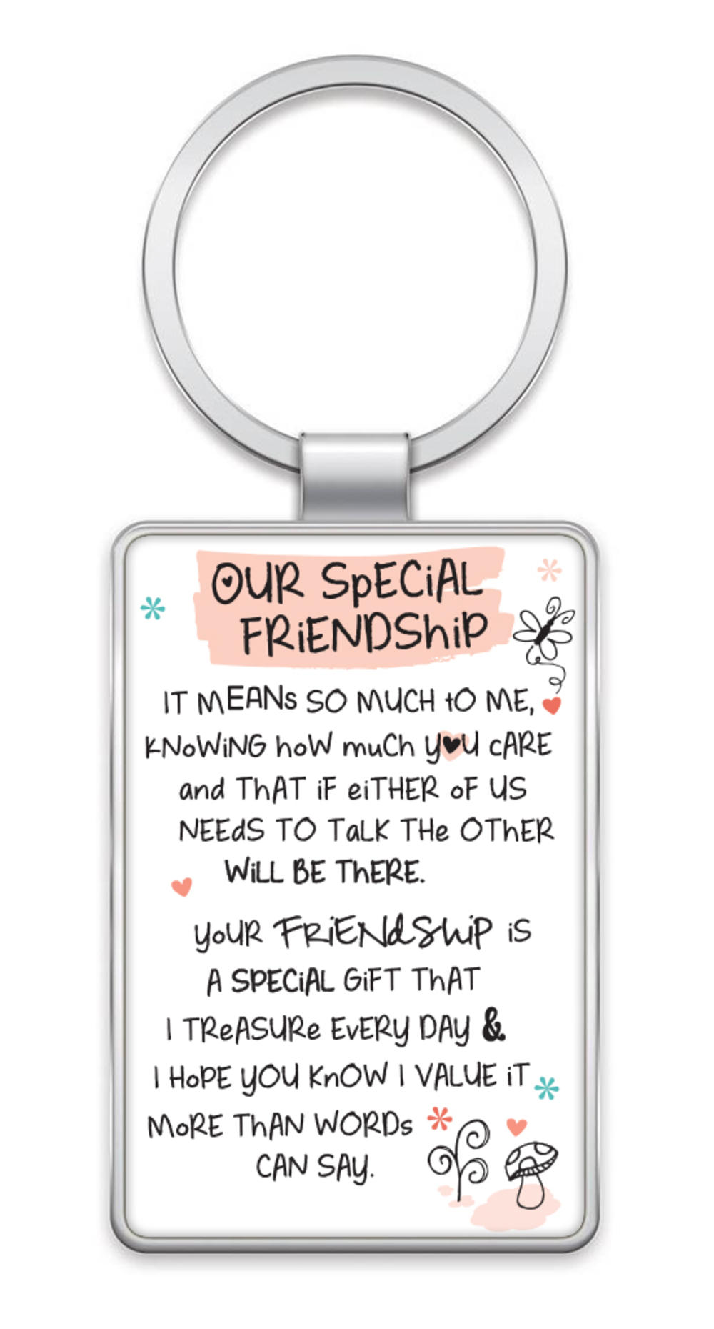 Our Special Friendship Inspired Words Metal Keyring