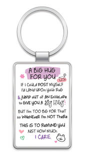 A Big Hug For You Inspired Words Metal Keyring