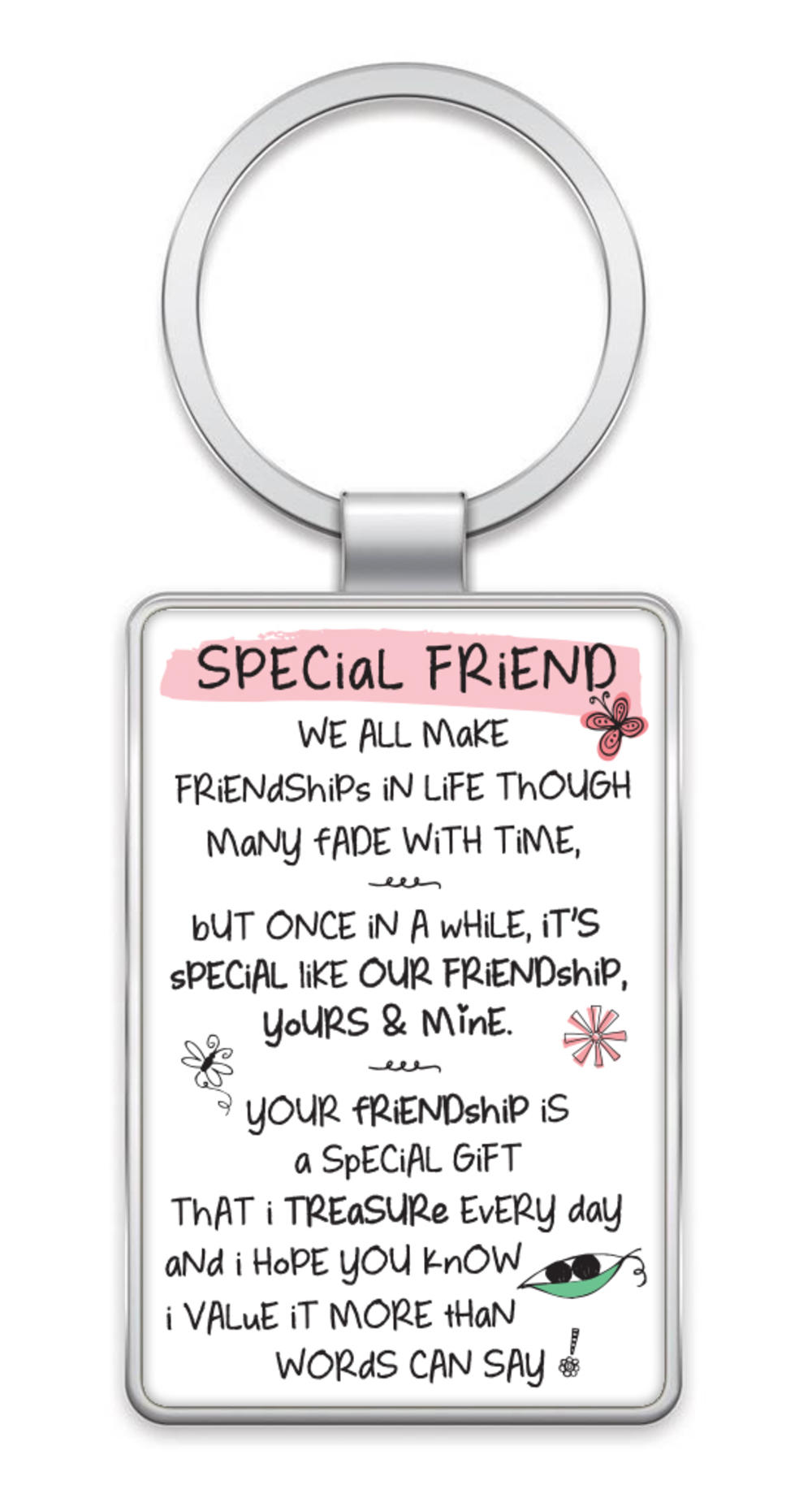 Special Friend Inspired Words Metal Keyring