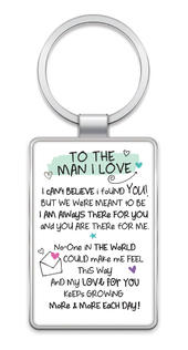 To The Man I Love Inspired Words Metal Keyring