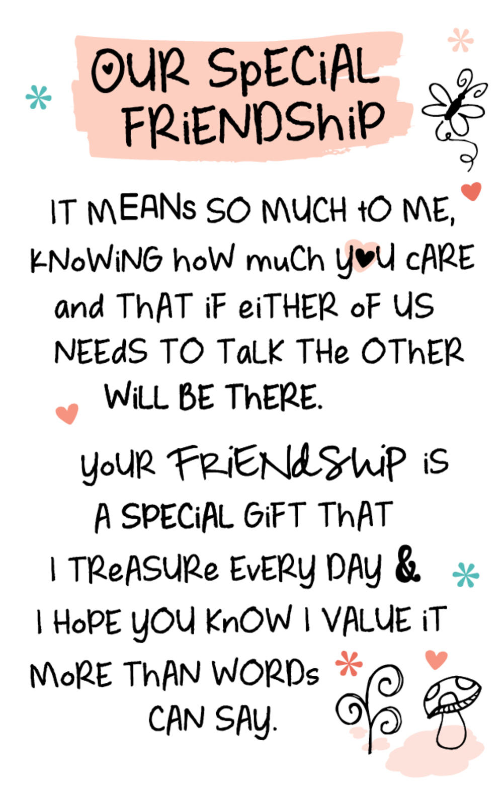 Our Special Friendship Inspired Words Keepsake Credit Card & Envelope