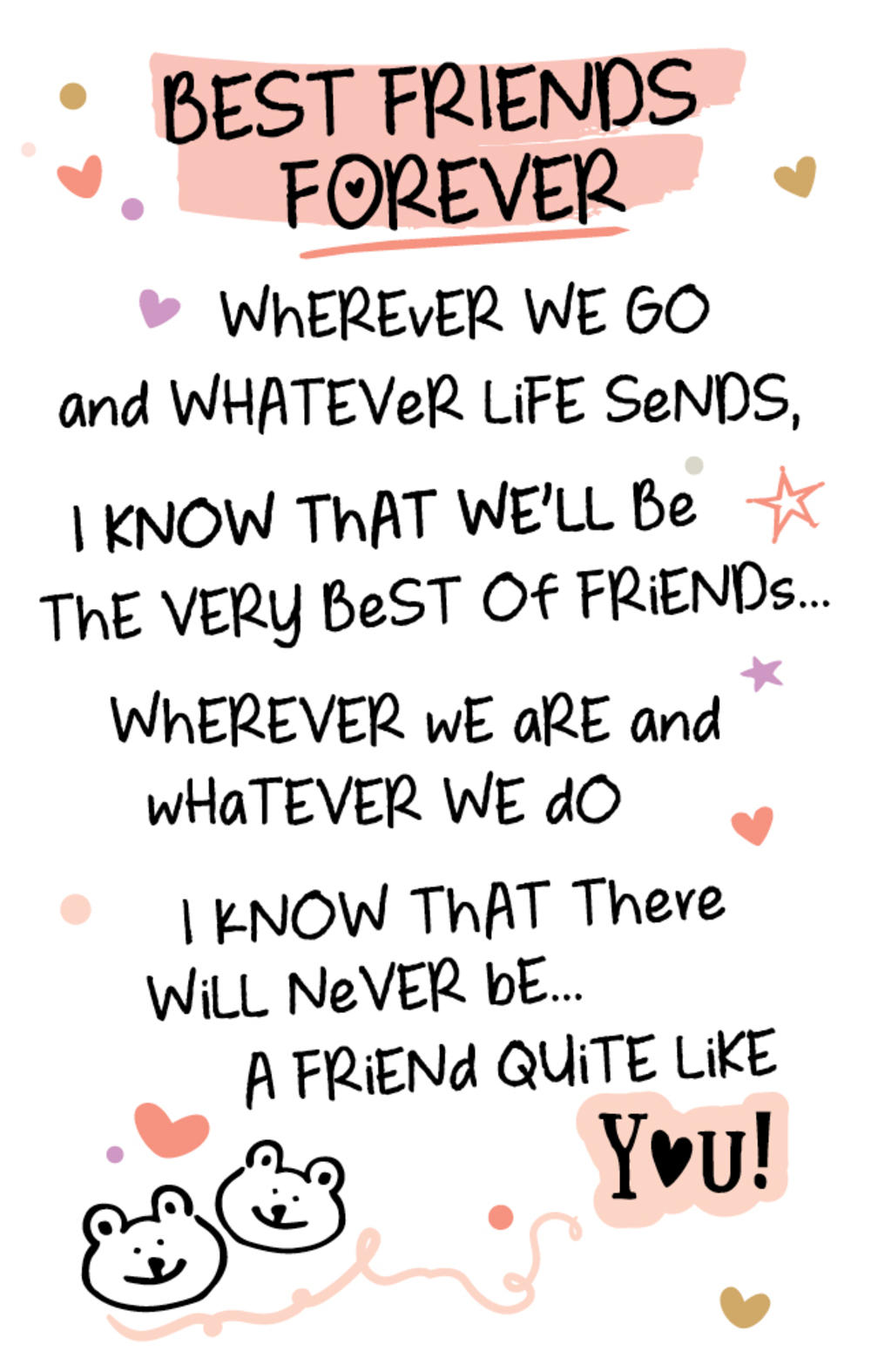 Best Friends Forever Inspired Words Keepsake Credit Card Envelope